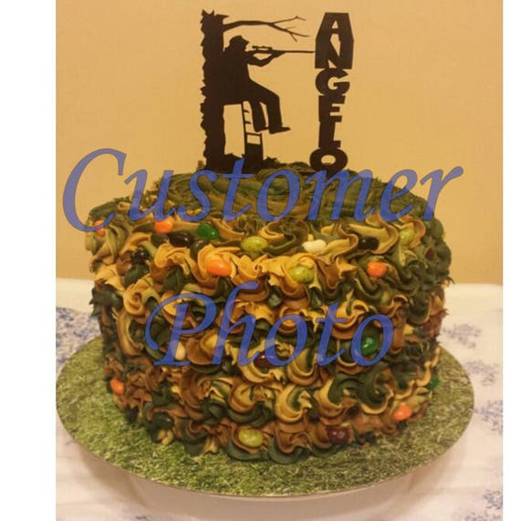 Hunter Cake Topper In Tree Stand Outdoor Man Deer Hunting Personalized Male Birthday Party LT1124