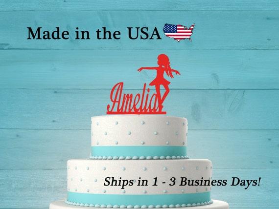 Hockey  Cake Topper Girl Birthday Any Name Personalized LT1160