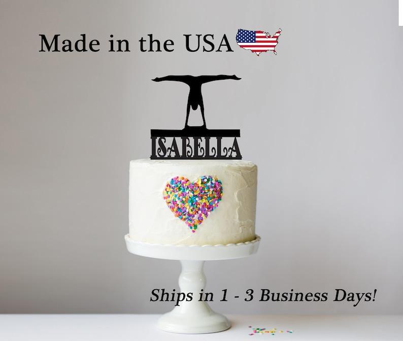 Handstand Splits Gymnast Cake Topper Gymnastics Decor Female Gymnastist Acrylic Birthday Party Decoration LT1183