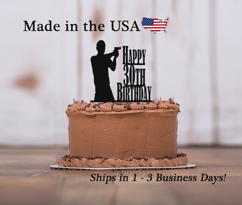 Gun Birthday Cake Topper Any Age Man Shooting Mans