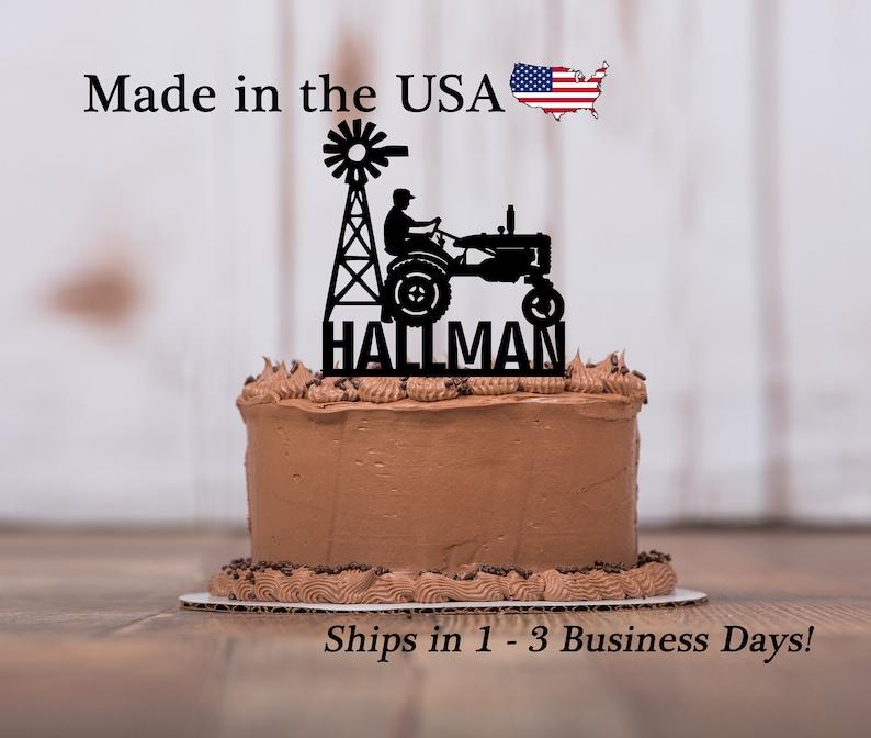 Tractor Birthday Cake Topper Farm Decor Theme Party