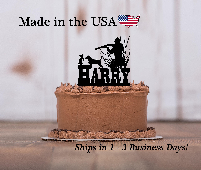 Cool Rabbit Hunter Cake Topper Dog Decor Cake Topper Outdoor Etsy Personalised Birthday Cards Veneteletsinfo