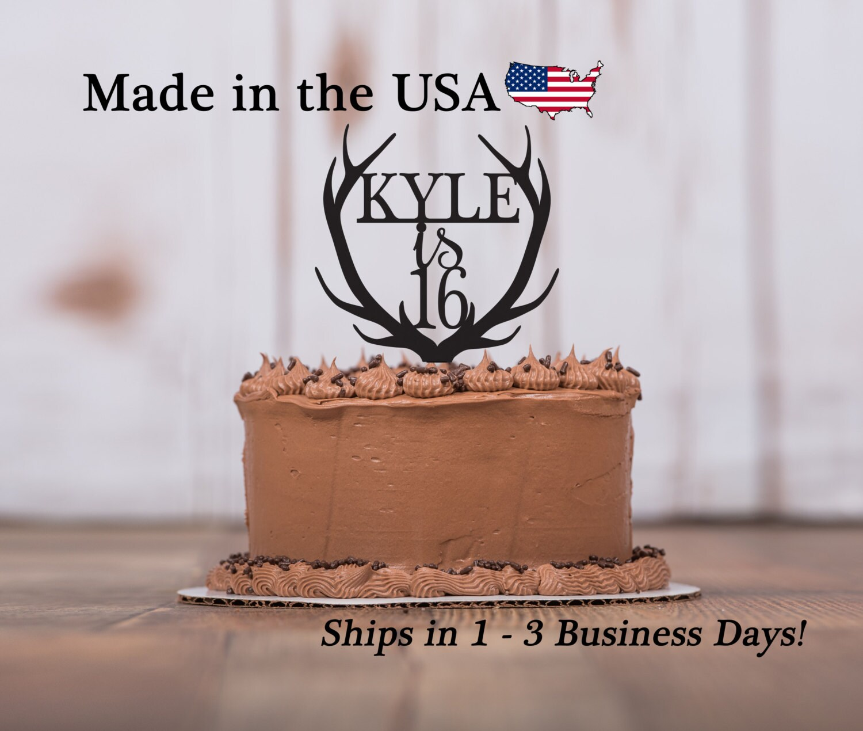 Happy Birthday Deer Antler Any Age Name Cake Topper Etsy