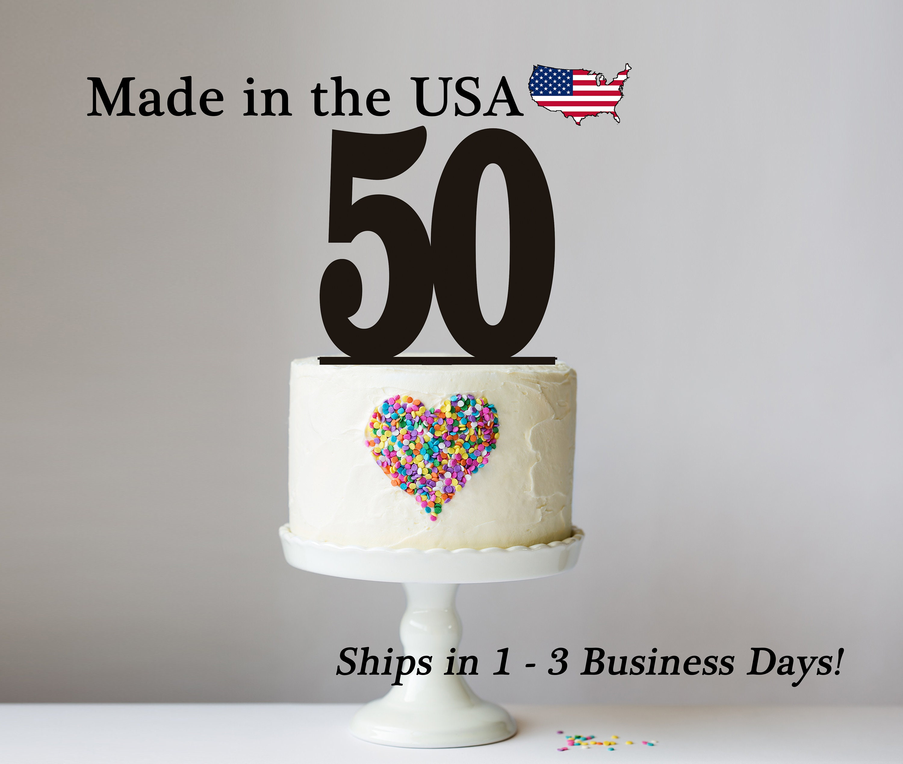 Number Cake Topper Age Any 50th Birthday Party Decor