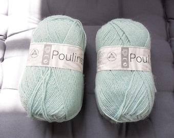 "balls of yarn ""poulinette"" green glacier white horse"
