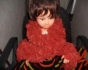 scarf has ruffle lace color copper