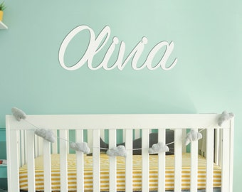 Wooden Wall Name Sign, Custom Wood Name for Nursery, Baby Name Decor, Girl Bedroom Wall Art, Personalized Playroom Wall Hanging Sign