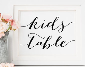 """PRINTABLE Art """"KIDS Table"""" 5x7 Wedding Table Sign, Reception Sign Wedding Decor, Black and White Typography, Modern Calligraphy Download"""