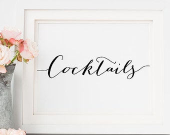 """PRINTABLE """"COCKTAILS"""" 5x7 Wedding Table Sign, Reception Sign, Wine and Beer Open Bar Print, Black and White Typography Art Print Download"""