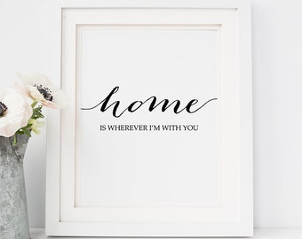 PRINTABLE Art HOME is Wherever I'm With You Print Inspirational Quote Wall Art Home Apartment Decor Wedding Sign Modern Calligraphy download