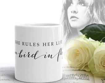 Stevie Nicks Elegant Rhiannon MUG, Boho Tea Mug, Pretty Coffee Mug, Ceramic Inspirational Quote Mug, Calligraphy Wedding Mug, Gifts for Her