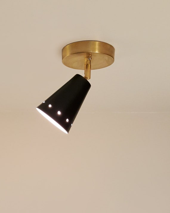 Coast Flushmount Spotlight Adjustable Swivel Wall Ceiling Mount Lamp Light Fixture Brass Contemporary Custom Mid Century Inspired