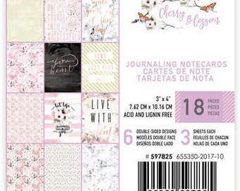 Cherry Blossom Journaling Cards 3X4, 18 individual cards