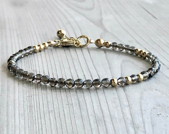 Smoky Quartz Bracelet Adjustable Clasp Crystal Bracelet Small Dainty Bead Bracelet Birthday Gift for Her Healing Gemstone bracelet