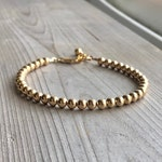 4mm Gold Bead Stacking Bracelet, Minimal Layering Bracelet, 14K Gold Filled Ball Bracelet, Adjustable Bracelet for Women