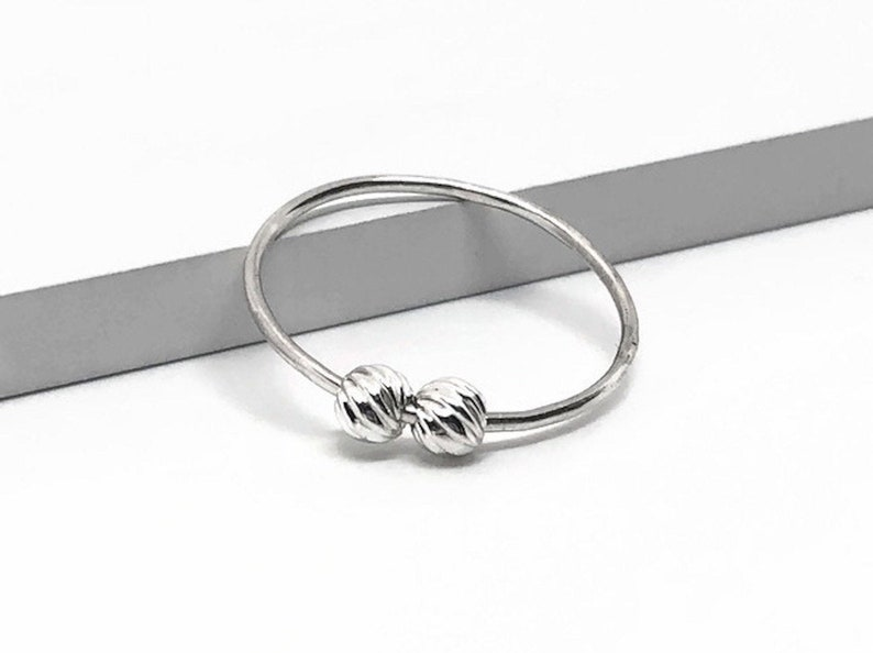 Silver beads spinner ring*silver ring*Meditation ring*silver ball*Worry ring*Anxiety ring*Fidget ring*fiddle ring*gift*jewelry*midi ring