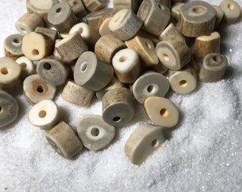 Crafts, Jewelry Making, Beading Supplies Natural Dakota Deer Antler Beads//Slices Small