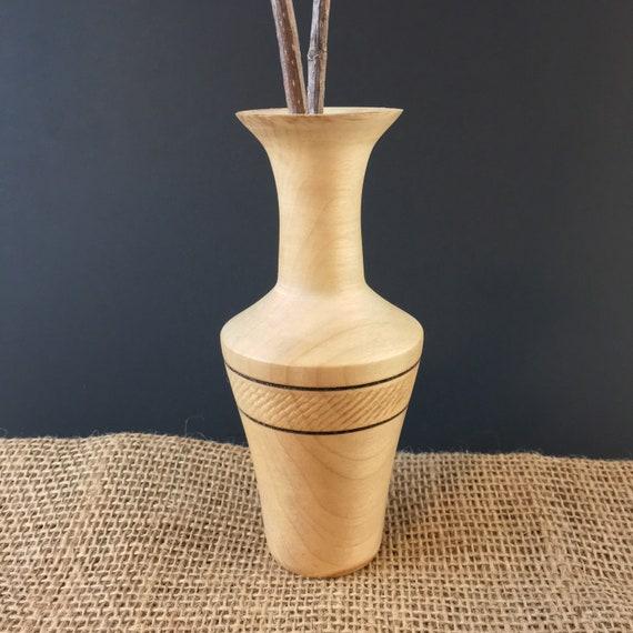 Twig Pot, Handmade Lathe Turned Beech Wood Vase, Weed Pot, Wooden Vase, Woodland Style Housewarming Gift