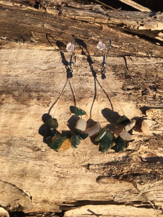 Up-Cycled Guitar String Earrings, Recycled Nylon Guitar String Jewelry, Green Jasper Chip Beads, Dangle Earrings, OOAK Musical Gift For You