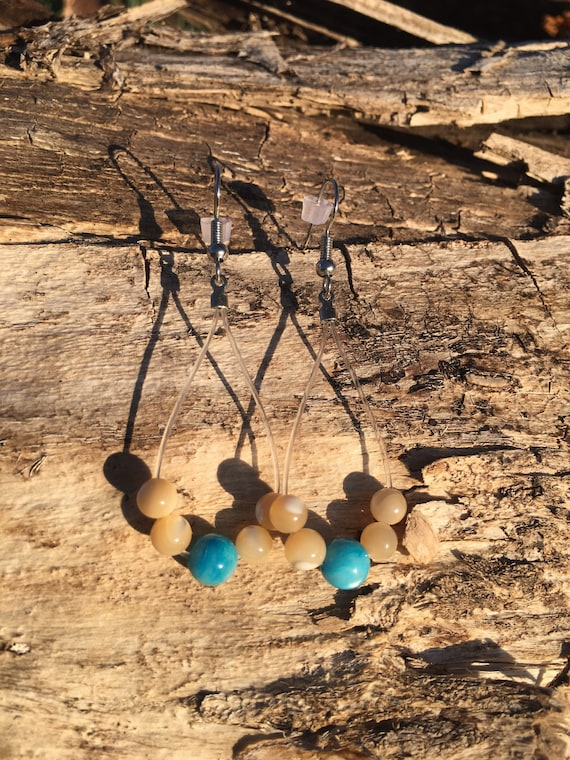 Up-Cycled Guitar String Earrings, Recycled Nylon Guitar String Jewelry, Sheen Beads, Dangle Earrings, OOAK Musical Gift For You, Her