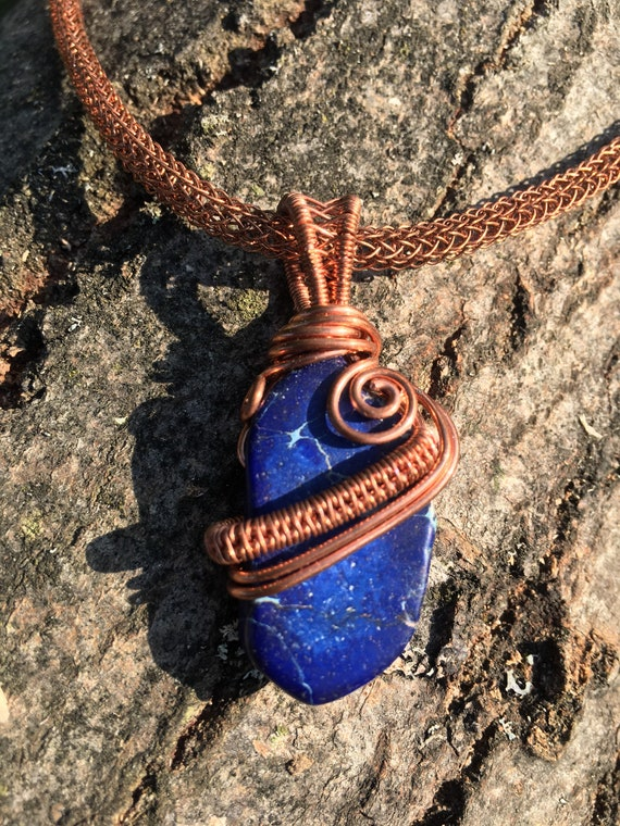 Viking Knit Necklace, Wire Wrapped Blue Sea Sediment Pendant, Copper Wire Knit & Weave, Unique, OOAK, Statement, Elegant Gift For Her, Mom