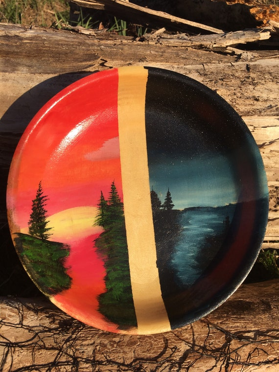 Hand Painted, Lathe Turned Wood Bowl, Decorative Artesian Bowl, Day & Night Scene, Signed Art, Collaboration Piece, OOAK Collector's Piece