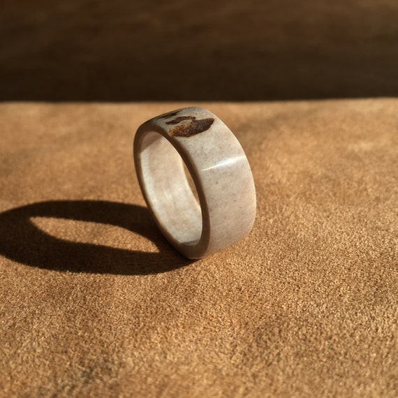 Antler Ring, Natural Whitetail Deer Antler Ring, US Size 10, Simple Band, Woodland Style Jewelry, Eco-Friendly Renewable Resource