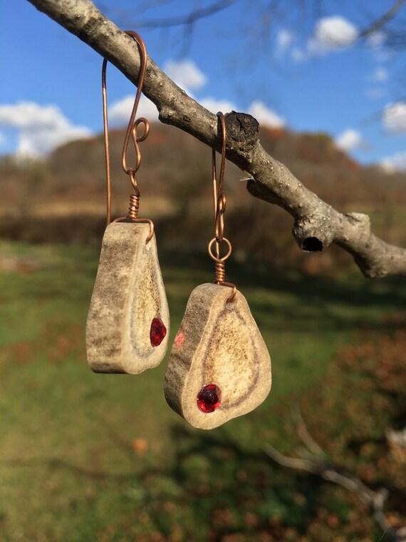 Antler Earrings, Deer Antler Bone Earrings, Antler Jewelry, Ruby Red Swarovski Crystals, Hand Hammered Copper, Woodland Country Gift