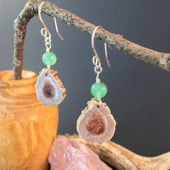 Antler Earrings, Natural Deer Antler Earrings W/Green Aventurine & Sterling Silver, Artesian Crafted, Woodland Country, Cowgirl Jewelry Gift