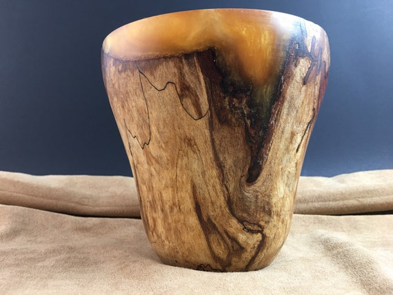 Maple Bowl, Spalted Maple Wood Decorative Tall Bowl, Wood Vase, Gold Resin Adornment, Decorative Housewarming Gift