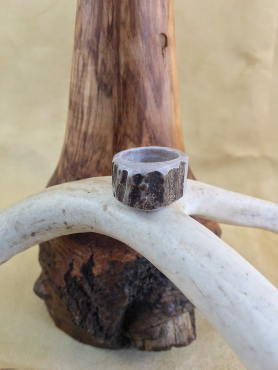 Antler Ring, Natural Deer Antler Ring, Woman's Size 6, Country Western Woodland Style Jewelry, Statement Ring