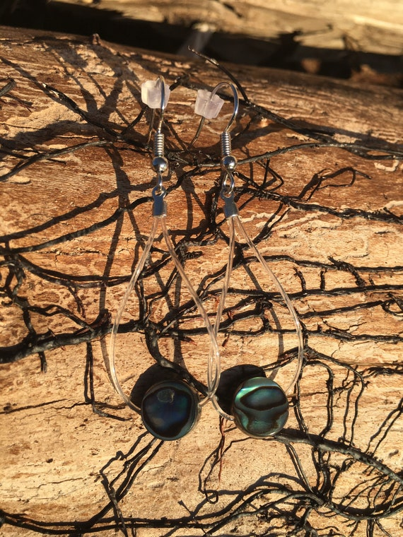 Up-Cycled Guitar String Earrings, Abalone Dangle Earrings, Recycled Guitar String Jewelry, Musical Gift For Her, Unique Gift, Mothers Day