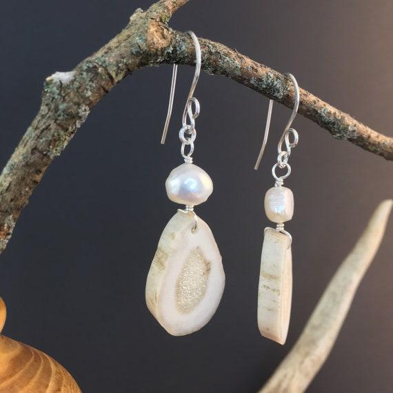 Antler Earnings, Natural Deer Antler W/Fresh Water Pearls & Sterling Silver, Artesian Crafted, Woodland Country Wedding, Bridal Jewelry