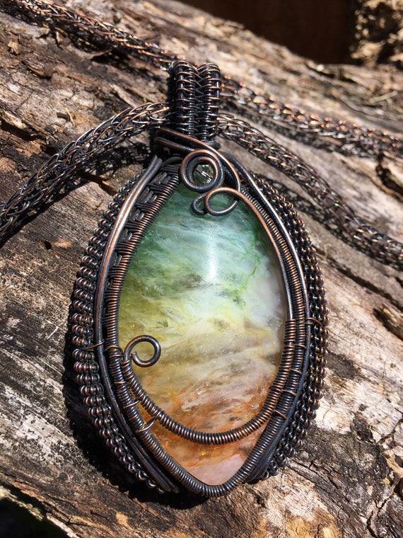 Rainbow Druzy, Wrapped in Copper With Hand Woven Viking Knit Chain