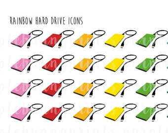 Rainbow Hard Drive Icons // Planner Stickers!