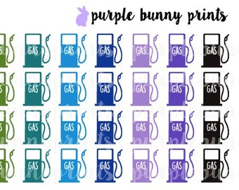 Rainbow Gas Pump Icons // Planner Stickers!