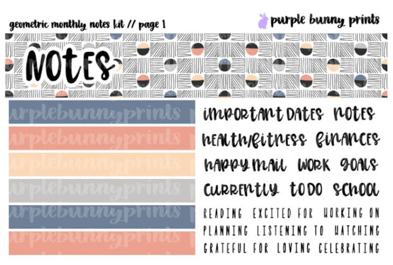 Geometric MONTHLY NOTES Kit  Sized for the ECLP  Planner Stickers!