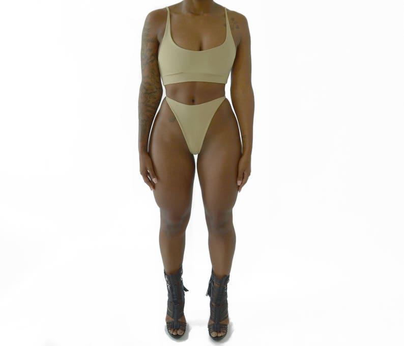 4284403ec7e ACE BOTTOM Bikini Thong Piece Black Bikini Thongkini Cheeky | Etsy