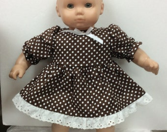 d5563ef6d3 Dress made for American Girl Bitty baby Doll brown polka dot cotton print