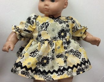 e0ce056fe1 Dress made for American Girl Bitty baby Doll yellow cotton print