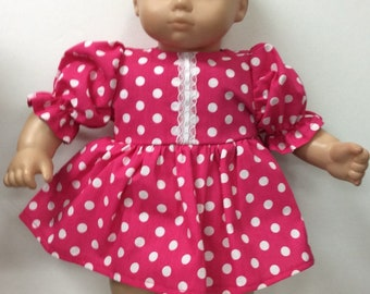 3ae1a9bf8b Dress made for American Girl Bitty baby Doll pink polka dot cotton print