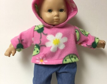 f33bf4096f Outfit for American Girl Bitty fleece baby hoodie and jeans set