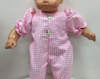10edd9b9aa Outfit for American Girl Bitty baby pink gingham flannel sleeper