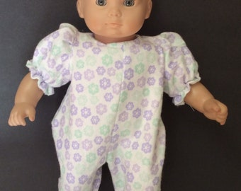0a1636586d Outfit for American Girl Bitty baby lavender and aqua flannel sleeper