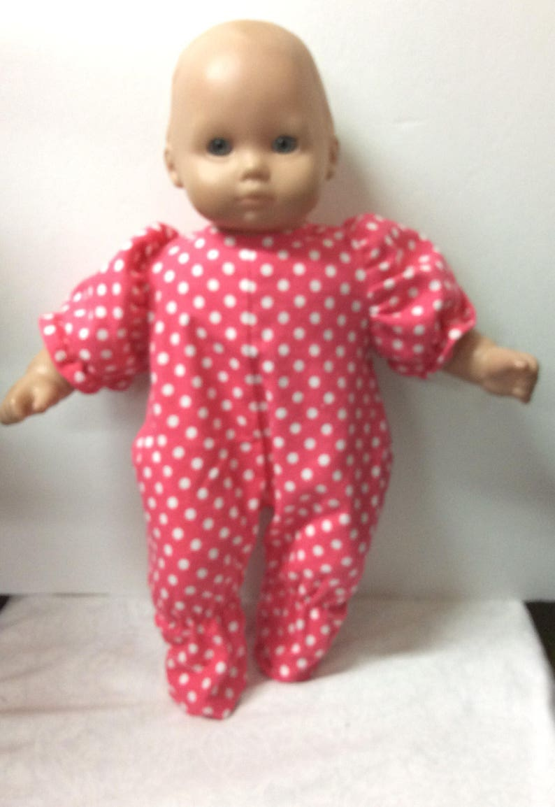 6ff1ab76b8 Outfit for American Girl Bitty baby coral polka dot flannel
