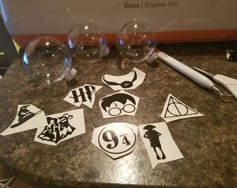 Set of 15 Harry Potter Inspired Decals for Christmas tree ornaments (or whatever your heart desires)