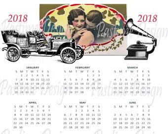 A year at a glance calendar 2018, 1920's style calendar, instant download,printable year calendar,vintage style calendar,2018 wall calendar