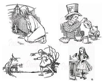 Vintage Alice in Wonderland collage sheet,Alice in Wonderland decoupage sheet,instant download,cardmaking,Vintage Alice in wonderland