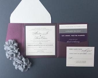 SAMPLE Wedding Invitation, Purple Wedding Invitation, Purple and Grey Wedding Invitation, Wedding Invite Kit, Pocket Wedding Invitations
