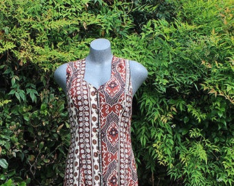 Vintage 90s Dress, Criss Cross Back, Duster, Jamie Brooke, Summer Dress, Hipster Style, Vacation Wear, Beach Dress, Brown & Tan, Size Small